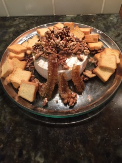 Warm Brie with Honeycomb and Walnuts